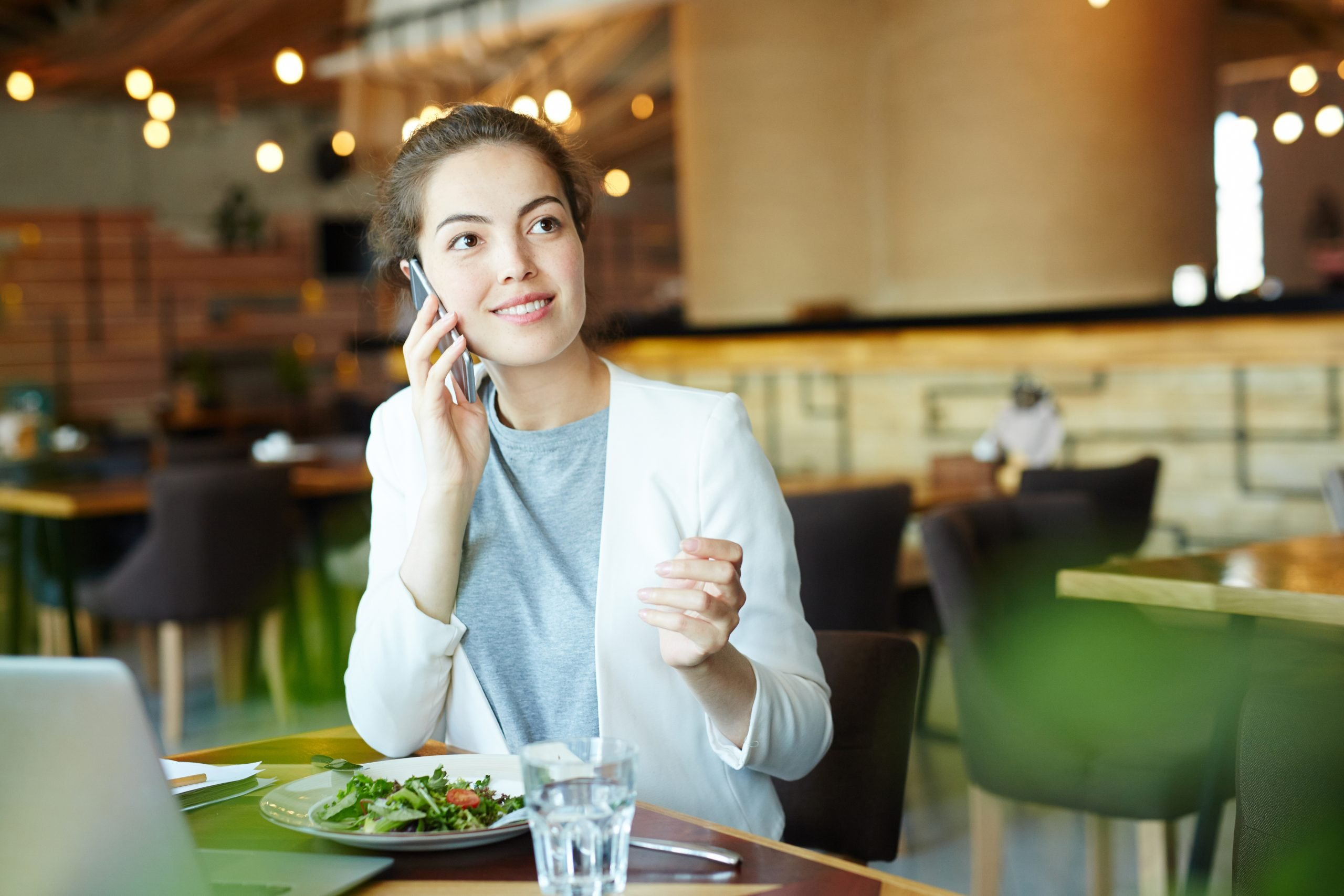 Female entrepreneur on phone meeting