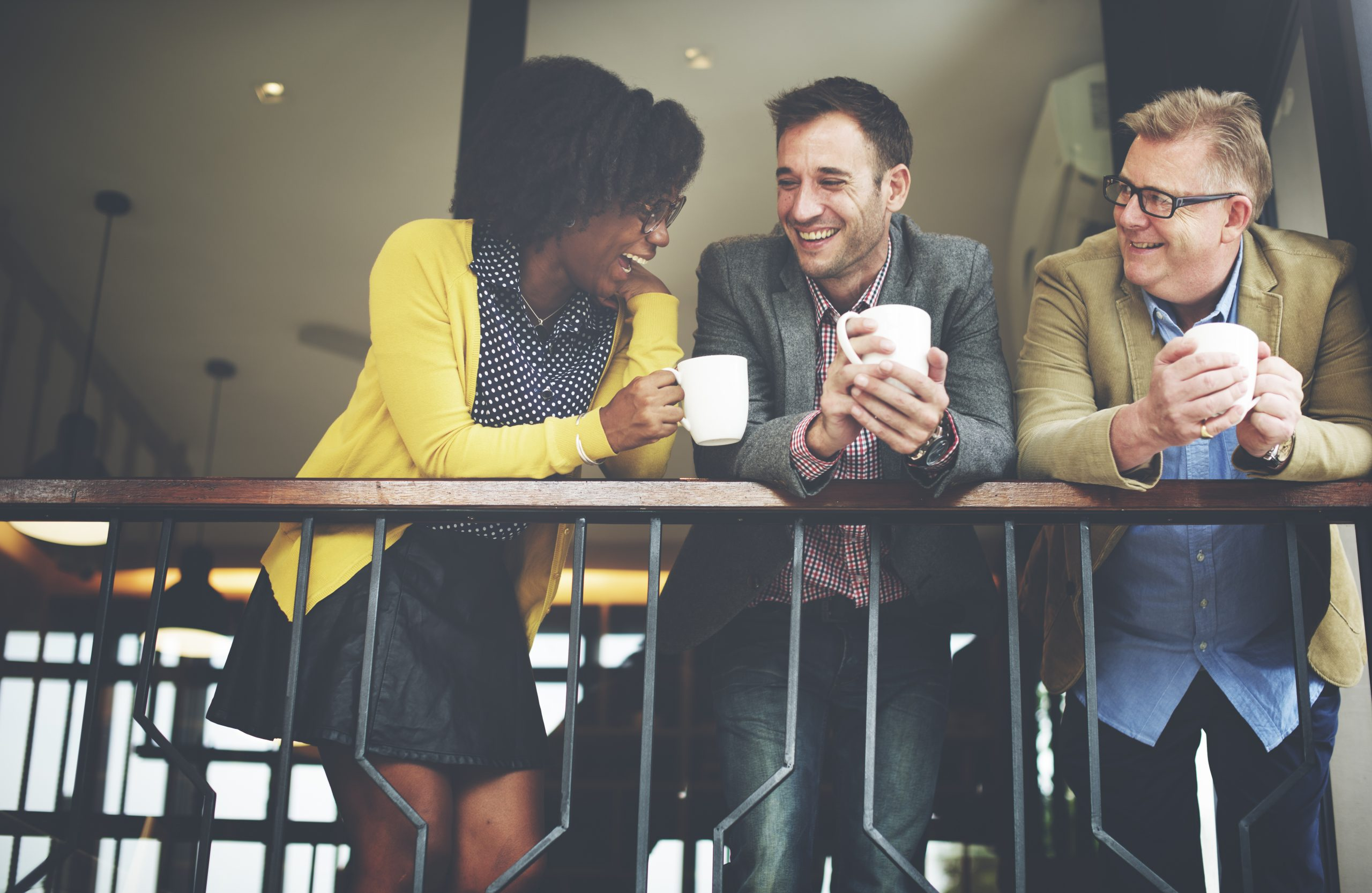 Entrepreneurs meeting for coffee